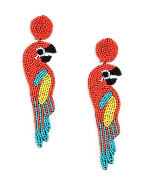 Multicolor Coral Seed Bead Parrot Clip-On Earrings