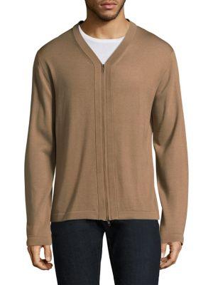 J. LINDEBERG File Wool & Silk Zip Cardigan