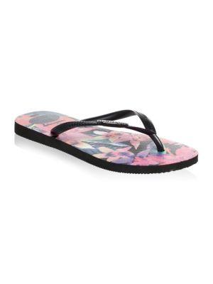Floral Rubber Flip Flops