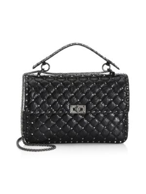 VITELLO ROCKSTUD LAMBSKIN LEATHER SHOULDER BAG - BLACK