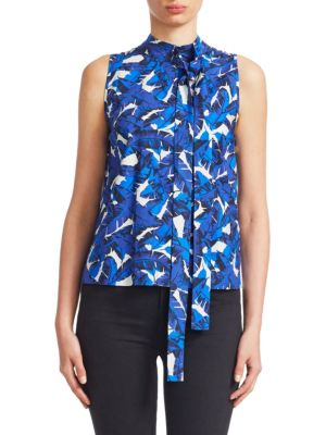 Floral Sleeveless Tie-Neck Top