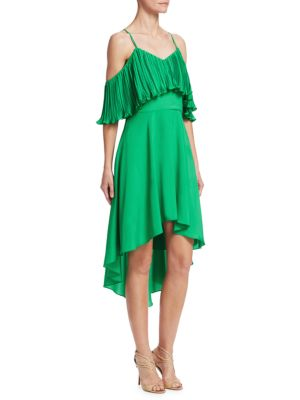 Pleated Cold Shoulder Fit-&-Flare Dress
