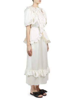 Beaded Ruffle Front Silk Dress