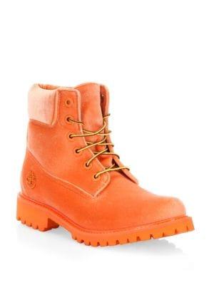 x Timberland orange velvet boots