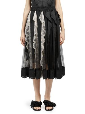 Pleated Lace Trim A-Line Skirt