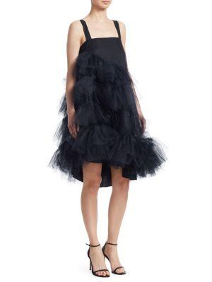 Black Tulle Multiple Ruffles Dress