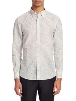 Woven Palm Leaf Print Shirt