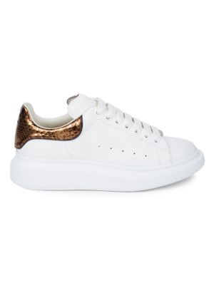 Genuine Python & Leather Low Platform Sneakers