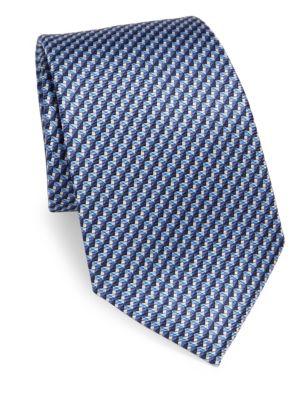 Folded Diamond Print Silk Tie