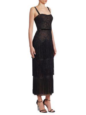Lace Fringe Midi Dress