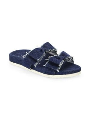 Joshua Light Denim Bow Slides