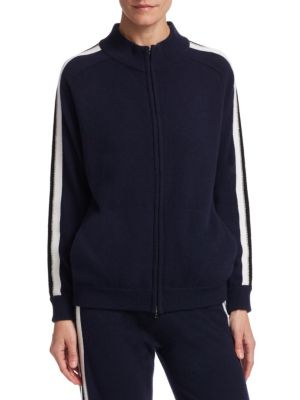 Athletic Strip Zip Cashmere Bomber