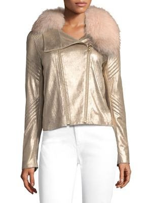 Zia Metallic Leather Jacket