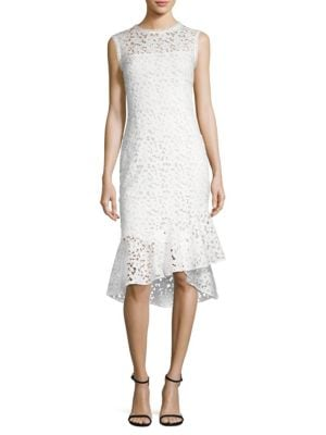 Floral Lace Midi Dress Off White