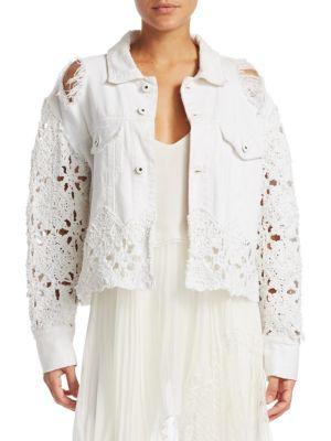 Macramé Denim Cropped Jacket