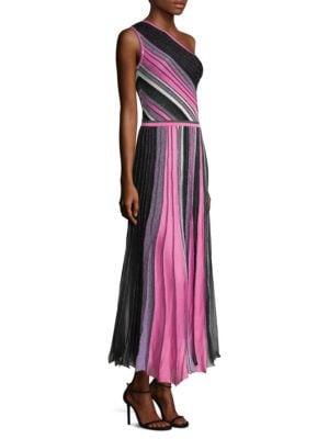 One-Shoulder Striped A-Line Dress