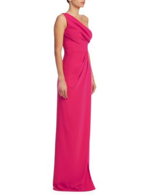 One-shoulder Embellished Tulle-trimmed Crepe Gown - Fuchsia Marchesa 0PyecgO