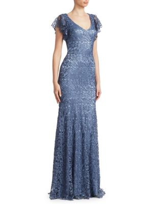 Flutter-Sleeve Lace Gown