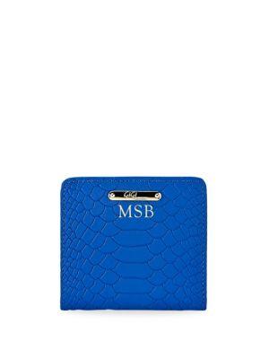 Mini Folding Python-Embossed Leather Wallet