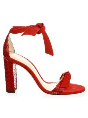 Clarita Python Suede Block Heel Sandals