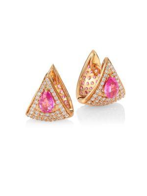 Spectrum Pink Sapphire, White Diamond & 18K Rose Gold Stud Earrings