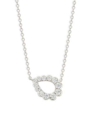 HEARTS ON FIRE 18K White Gold Diamond Teardrop Pendant Necklace