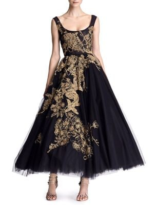Embroidered Tulle Tea-Length Gown