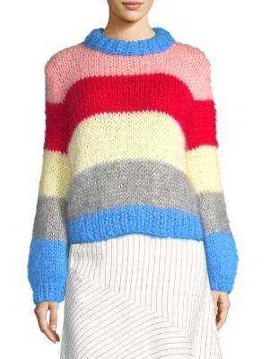 THE JULLIARD STRIPED MOHAIR AND WOOL-BLEND SWEATER