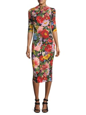 ALICE + OLIVIA DELORA FLORAL PRINT MIDI DRESS