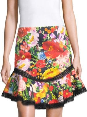 ERIKO FLORAL-PRINT CURVED-HEM SKIRT WITH LACE TRIM