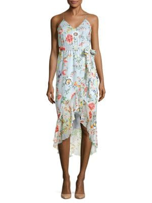 Mable Wrap-effect Floral-print Silk-georgette Midi Dress - Light blue Alice & Olivia