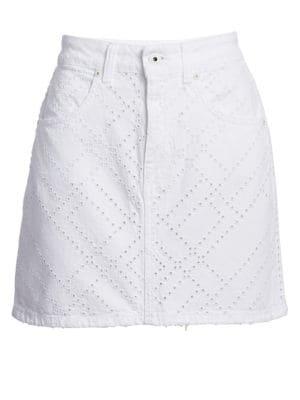 Eyelet Denim Mini Skirt