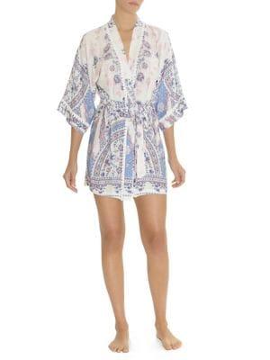 Floral-Print Robe