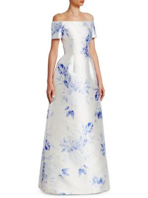 CATHERINE REGEHR Off-The-Shoulder Silk Gown