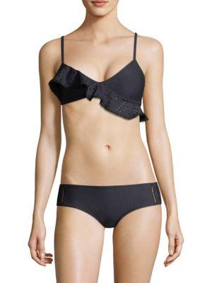 Triangle Seersucker Bikini Top