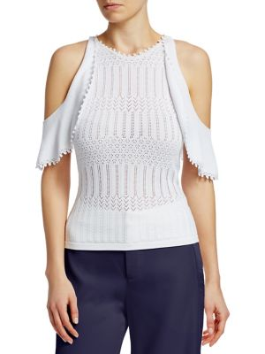 Ribbed Cold-Shoulder Top