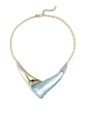 Lucite Hinged `V' Shape Pendant Necklace