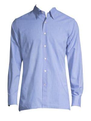 Dotted-Print Cotton Button-Down Shirt