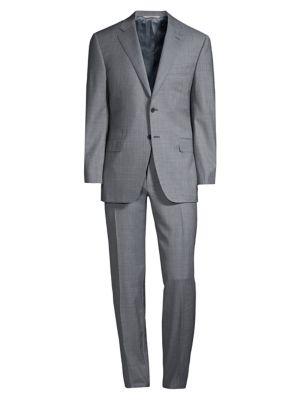 Modern-Fit Mini Geometric Wool Suit