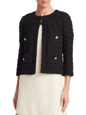 EDWARD ACHOUR Textured Cropped Jacket