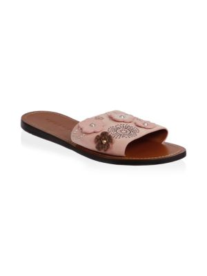 Tea Rose Rivet Suede Slides
