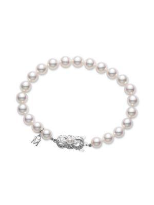 6.5MM-7MM White Cultured Akoya Pearl & 18K White Gold Strand Bracelet