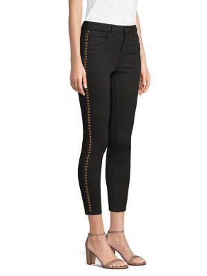 Margot High-Rise Cropped Studded Skinny Jeans