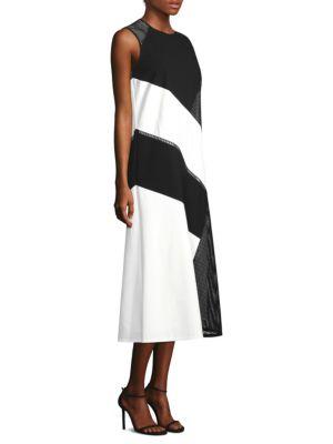 Nuri Laser Cut Calf-Length Dress