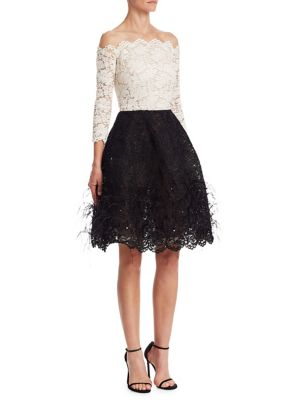 Lace & Feather Cocktail Dress