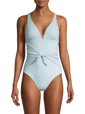 One-Piece Pinstripe Tie-Waist Chambray Swimsuit