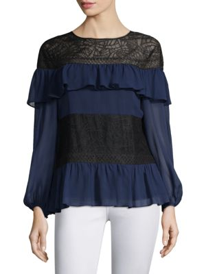 Ruffles & Lace Silk Blouse