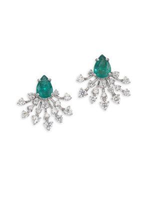 HUEB Luminus Emerald-Green Diamond & 18K White Gold Stud Earrings