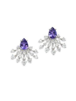 Diamond, Tanzanite & 18K White Gold Stud Earrings