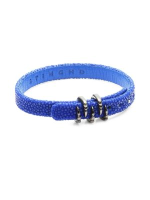 STINGHD Platinum Claw and Leather Bracelet